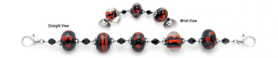 Designer Bead Medical Bracelets Galactic Glows in Red 2039