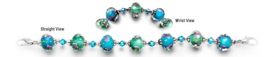 Designer Bead Medical Bracelets Pink Roses in Green and Blue 2041