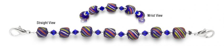 Designer Bead Medical Bracelets Tri-Color on Blue 2045
