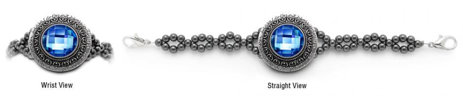 Designer Rhinestone Medical Bracelets Mirror Mirror-Blue 2060