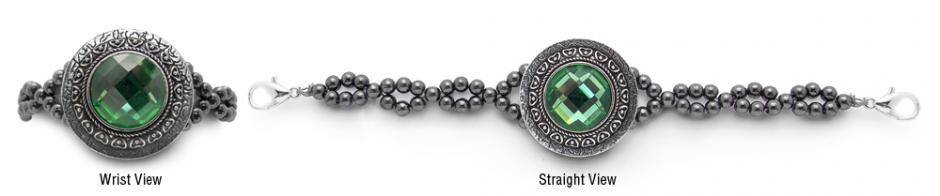 Designer Rhinestone Medical Mirror Mirror-Green 2061
