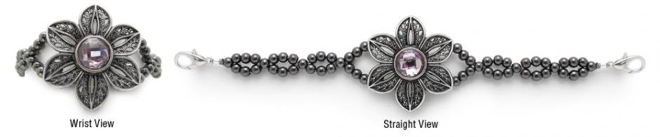 Bling Medical Bracelets Purple Spring Flower 2064
