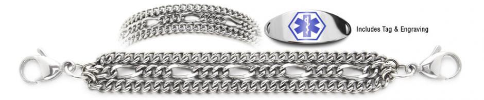 Designer Stainless Medical ID Bracelet Set Espressivo 21231