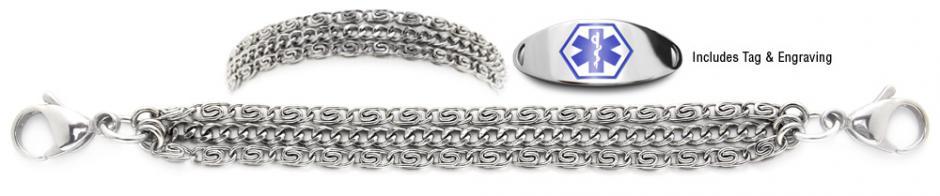 Designer Stainless Steel Medical Alert ID Bracelet Set Delizioso 21232