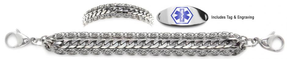 Designer Stainless Medical ID Bracelet Set Massimo 21239