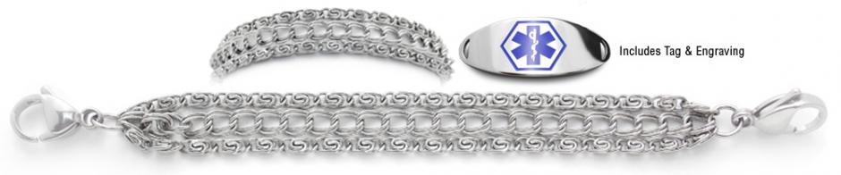 Designer Stainless Medical ID Bracelet Set Impressionato 21895