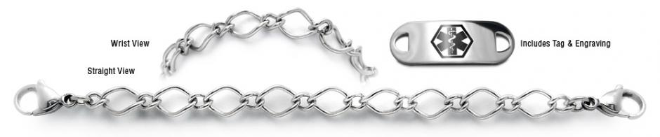 Designer Stainless Medical Bracelet Set Museo del Merletto 22006