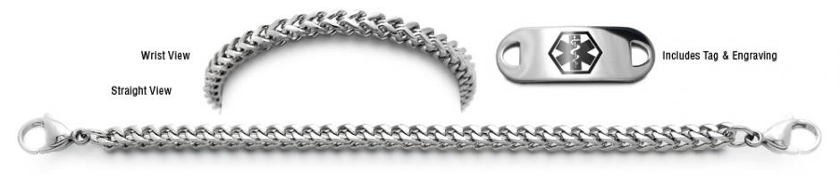 Designer Stainless Medical Bracelet Set Sottile Mistero Quadrato 22007