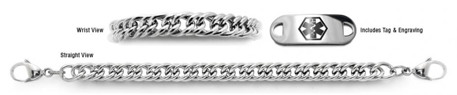 Designer Stainless Medical Bracelet Set Magnifico Milano 22008