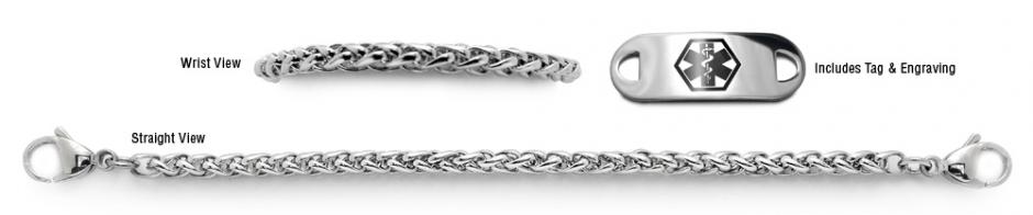 Designer Stainless Medical Bracelet Set Coda di Cavallino 22012