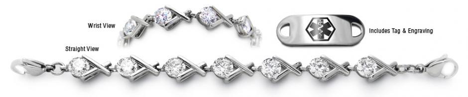 Designer Diamond Stainless Medical Bracelet Set Grande Corona 22016