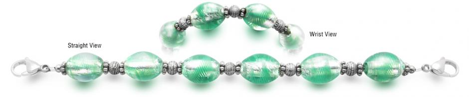 Designer Bead Medical Bracelets Green Ice 2349