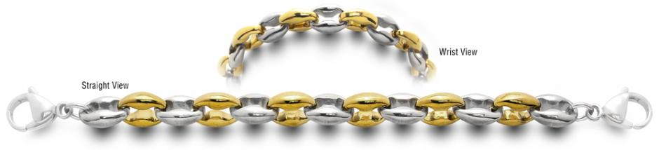 Designer Gold-Stainless Medical Bracelets Bei Oro ed Argento 2373