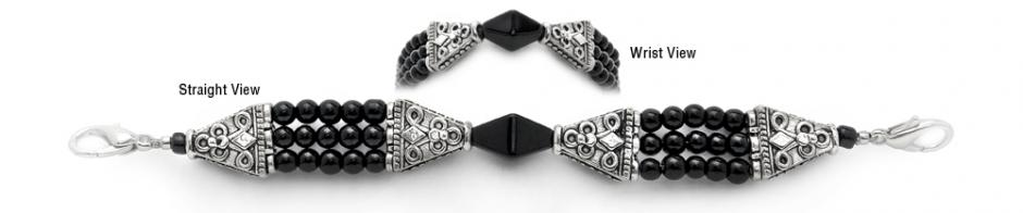 Designer Bead Medical Bracelets Shimmering Ebony 3715