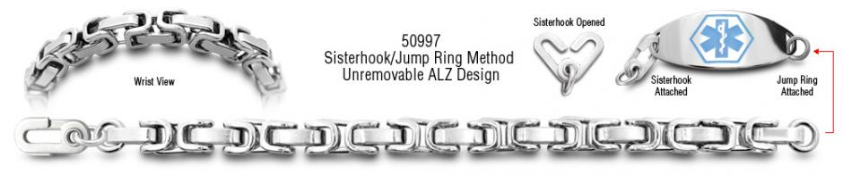 ALZ Unremovable Medical ID Bracelet Set Arezzo 50997