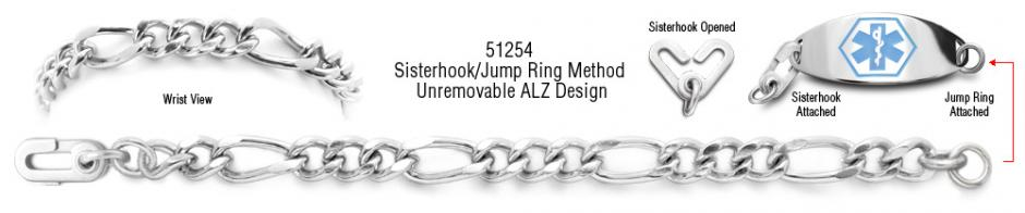 ALZ Unremovable Medical ID Bracelet Set Forte Lusso 51254