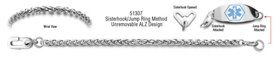 ALZ Unremovable Medical ID Bracelet Set Coda di Cavallino 51307