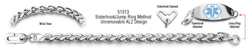ALZ Unremovable Medical ID Bracelet Set Amore Eterno 51313