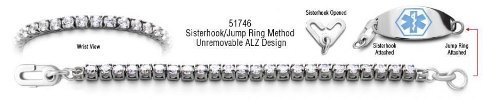 ALZ Unremovable Diamond MedicalBracelet Set Diamanti di Sophia 51746