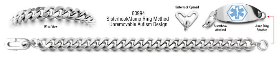 Autism Unremovable Medical ID Bracelet Set Maestros Magic 60994