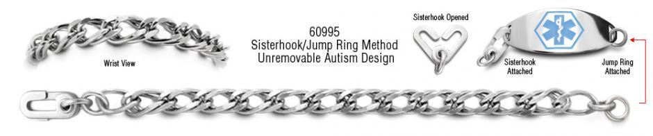 Autism Unremovable Medical ID Bracelet Set Allegro Precisione 60995