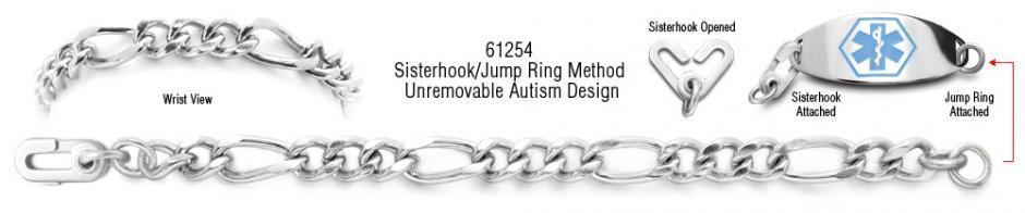 Autism Unremovable Medical ID Bracelet Set Forte Lusso 61254