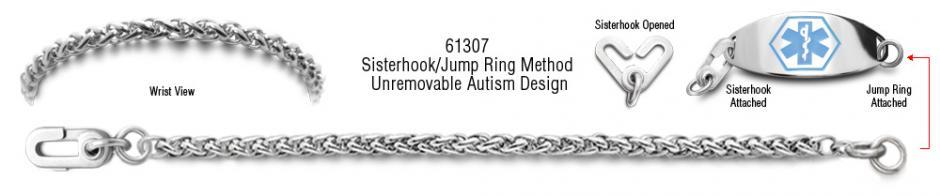 Autism Unremovable Medical ID Bracelet Set Coda di Cavallino 61307