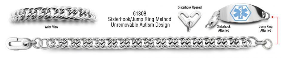 Autism Unremovable Medical ID Bracelet Set Magnifico Milano 61308