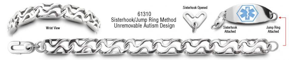 Autism Unremovable Medical ID Bracelet Set Resistenza 61310