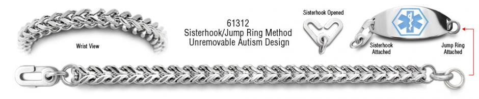 Autism Unremovable Medical ID Bracelet Set Mistero Quadrato 61312