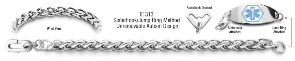 Autism Unremovable Medical ID Bracelet Set Amore Eterno 61313