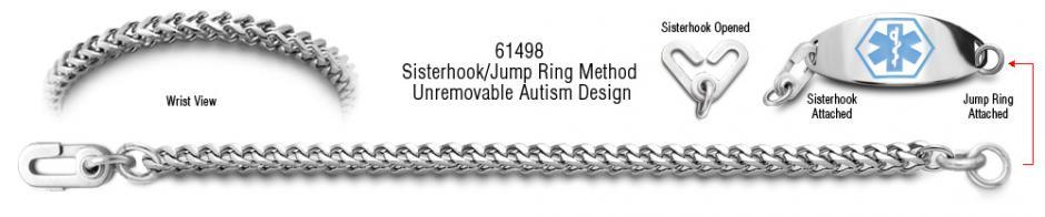Autism Unremovable Medical ID Bracelet Set Quadrato 61498