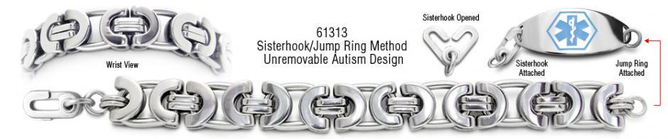 Autism Unremovable Medical ID Bracelet Set Suzzara 61740
