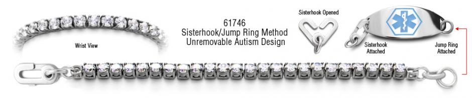 Autism Unremovable Medical ID Bracelet Set Sophia 61746