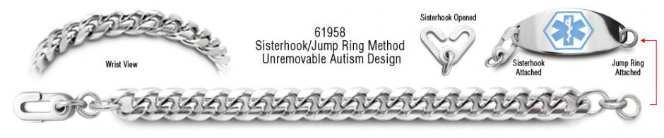 Autism Unremovable Medical ID Bracelet Set Classica Italiana 61958