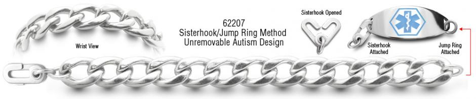 Autism Unremovable Medical ID Bracelet Set Catena Dura 62207