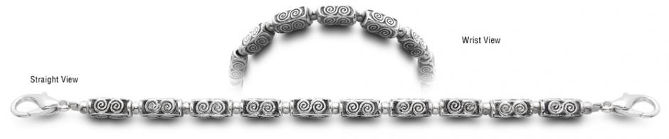 Designer Bead Medical ID Bracelets Silver Dragon 9597