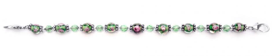 Designer Bead Medical Bracelets Pink Rose in Green 0253