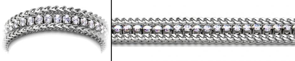Designer Diamond Medical Tennis Bracelet Tre Catene 1991