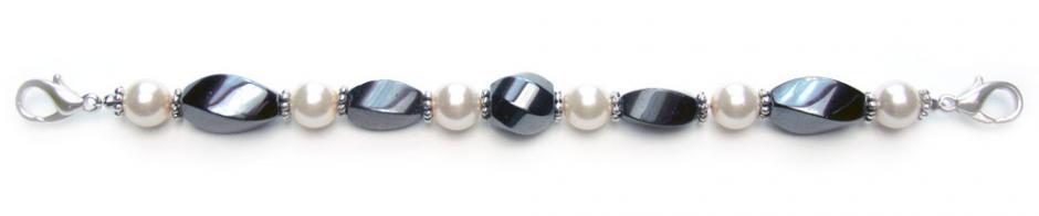 Designer Bead Medical Bracelets Twisted in White Pearl 0277