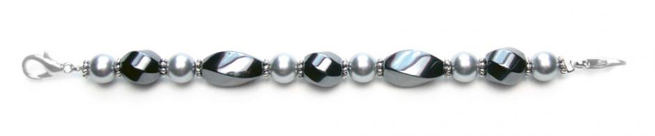 Designer Bead Medical Bracelets Twisted in Grey Pearl 1 0279