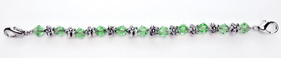Beaded Medical Bracelets Silver Flowers Medium Green Crystals 0369