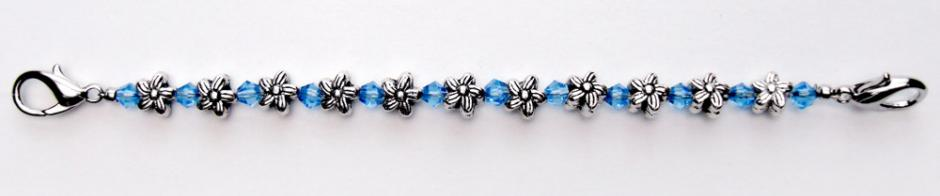 Beaded Medical Bracelets Silver Flowers Small Blue 0370