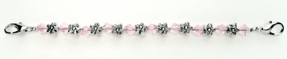Designer Bead Medical Bracelets Silver Flowers Med Pink Crystals 0411