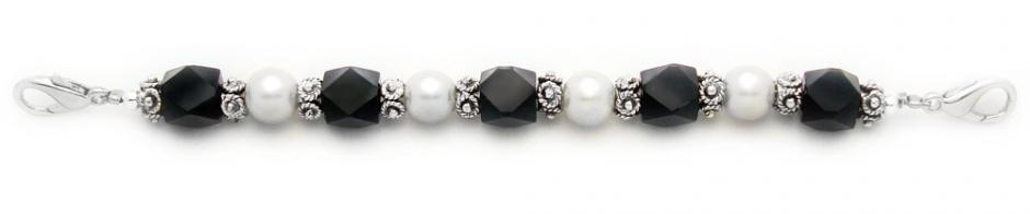 Designer Bead Medical Bracelets Fancy Black-White 0581