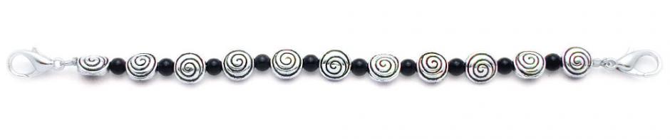 Designer Bead Medical Bracelets Swirly Fun Black 0589