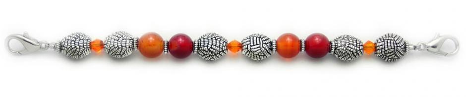 Designer Bead Medical ID Bracelet Amber Herringbone 0605