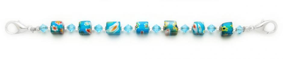 Designer Bead Medical Bracelets Aqua Venetian Fun 0787