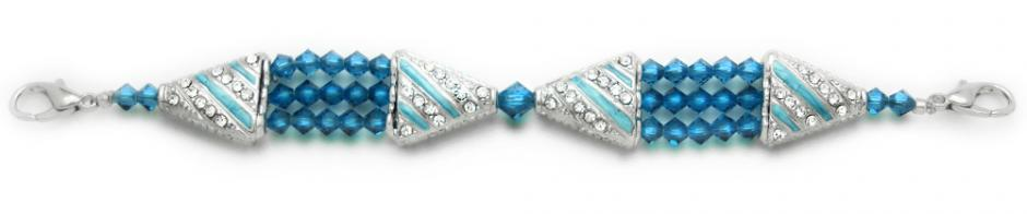 Designer Bead Medical Bracelets Deep Aqua 0928