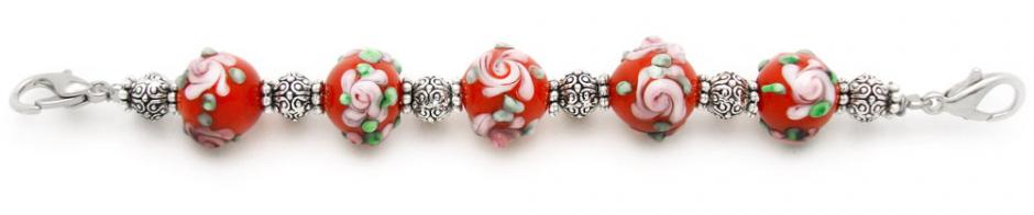 Designer Bead Medical Bracelets Sunset Rose 1201